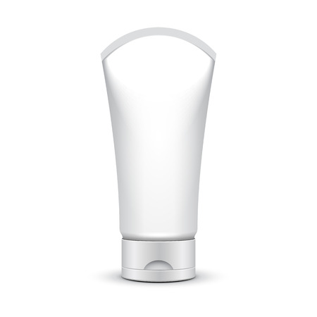 silver white: Tube Of Cream Or Gel Grayscale Silver White Clean On White Background