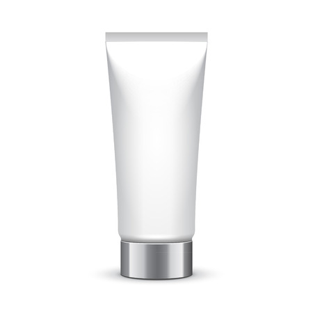 silver white: Tube Of Cream Or Gel Grayscale Silver White Clean With Chrome Lid Illustration
