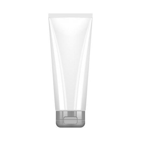 silver white: Tube Of Cream Or Gel Grayscale Silver White Clean With Gray Chrome Lid Illustration