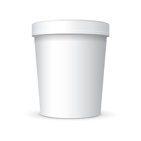 White Food Plastic Tub Bucket Container  イラスト・ベクター素材