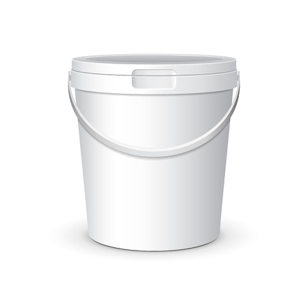 White Food Plastic Tub Bucket Container With Lid Cap
