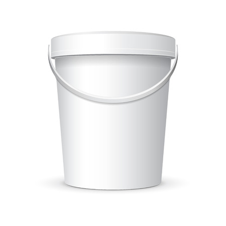 White Food Plastic Tub Bucket Container With Handle Vector
