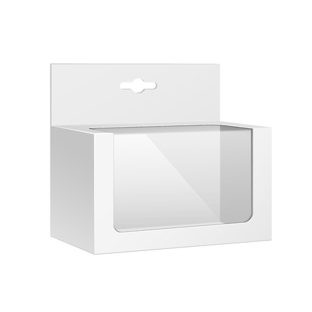 White Horizontal Product Package Box With Window On White Background Isolated
