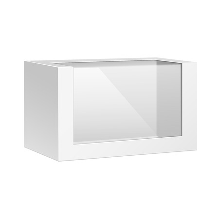 White Horizontal Product Package Box With Window 일러스트