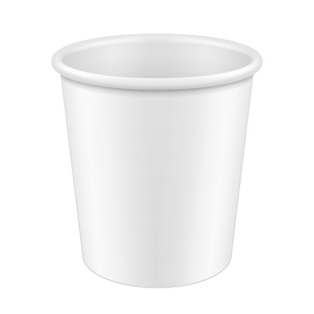 polystyrene: White Disposable Paper Cup. Container For Coffee, Java, Tea, Cappuccino, Dessert, Yogurt, Ice Cream, Sour Sream Or Snack. Ready For Your Design. Product Packing Vector EPS10 Illustration