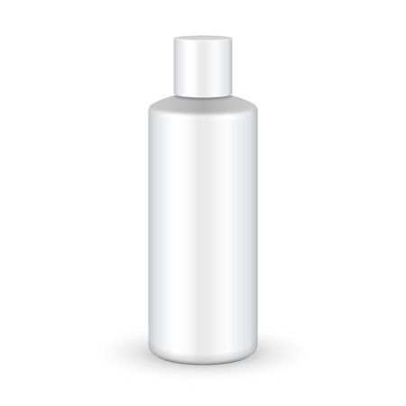 grayscale: Shampoo, Gel Or Lotion Plastic Bottle On White Background Isolated. Ready For Your Design. Product Packing Vector EPS10 Illustration