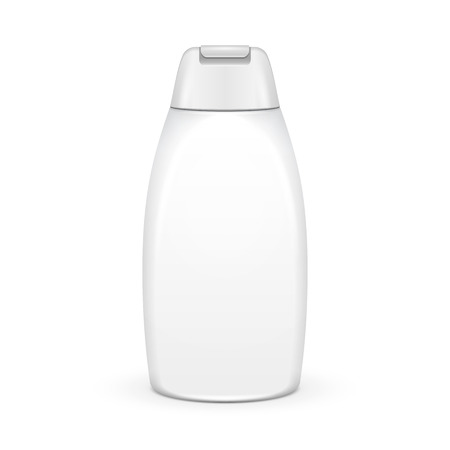 Shampoo, Gel Or Lotion Plastic Bottle On White Background Isolated. Ready For Your Design. Product Packing Vector EPS10 向量圖像