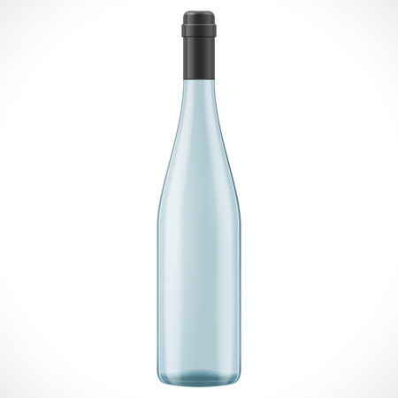 unopened: Blue Glass Wine Cider Bottle On White Background Isolated. Product Packing. Vector EPS10