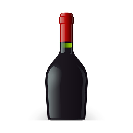 stout: Wine, Cognac, Brandy Or Whiskey Bottle Short And Stout On White Background Isolated. Ready For Your Design. Product Packing Vector EPS10 Illustration