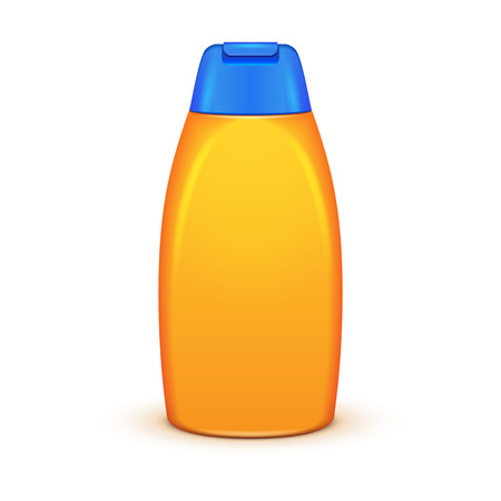 Yellow Shampoo Plastic Bottle On White Background Isolated. Ready For Your Design. Product Packing Vector EPS10
