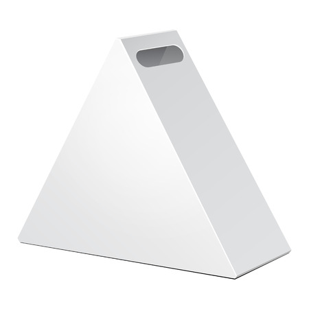 White Cardboard Triangle Carry Box Bag Packaging For Food, Gift Or Other Products. On White Background Isolated. Ready For Your Design. Product Packing Vector EPS10