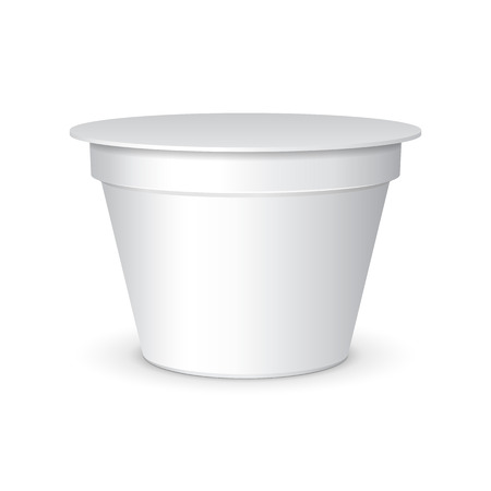 White Short And Stout Tub Food Plastic Container For Dessert, Yogurt, Ice Cream, Sour Sream Or Snack. Ready For Your Design. Product Packing Vector EPS10 Vector