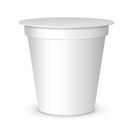 agrio: Blanca hidromasaje Alimentos de contenedores de pl�stico para el postre, yogur, helado, Sream Sour o merienda. Listo para su dise�o. Embalaje del producto vectorial EPS10