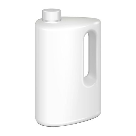 cleanser: White Plastic Jerrycan Oil, Cleanser, Detergent, Abstergent, Liquid Soap, Milk, Juice On White Background Isolated. Ready For Your Design. Product Packing Vector EPS10