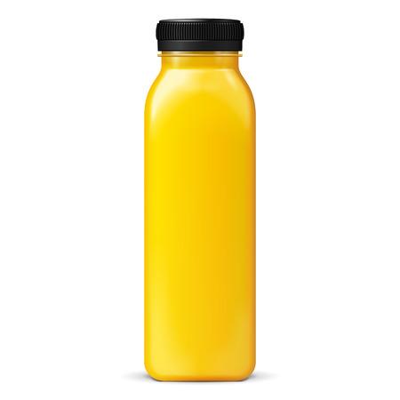 Long Tall džus nebo Jam Sklo Žlutá Oranžová láhev Jar na bílém pozadí izolované. Připraveno pro svůj design. Balení produktu. Vector EPS10 Ilustrace