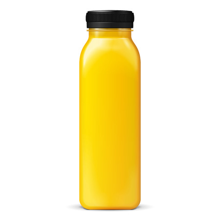 Long Tall Juice Or Jam Glass Yellow Orange Bottle Jar On White Background Isolated. Ready For Your Design. Product Packing. Vector EPS10