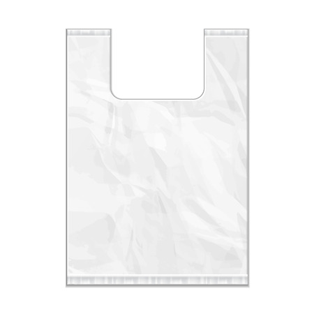 Disposable Plastic Bag Package Grayscale Template. Ready For Your Design. Product Packing Vector EPS10. Isolated.