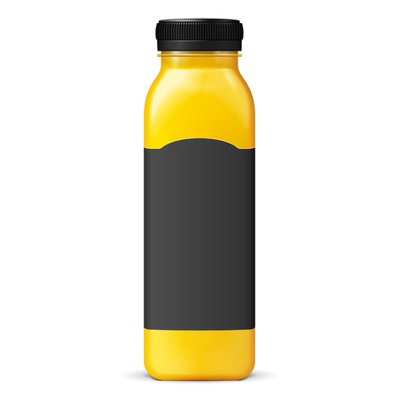 Long Tall Juice Or Jam Glass Yellow Orange Bottle Jar With Black Lable On White Background Isolated. Ready For Your Design. Product Packing. Vector EPS10