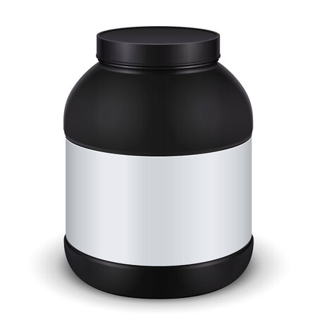 gainer: Sport Nutrition, Protein, Gainer, Black, Jar Can Cap Bottle With Label. Blank On White Background Isolated. Ready For Your Design. Product Packing Vector EPS10 Illustration
