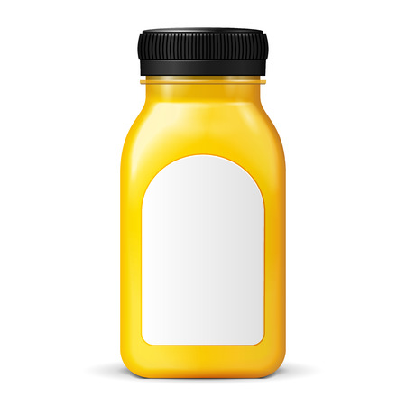 Juice Or Jam Glass Yellow Orange Bottle Jar On White Background Isolated. Ready For Your Design. Product Packing. Vector EPS10 일러스트