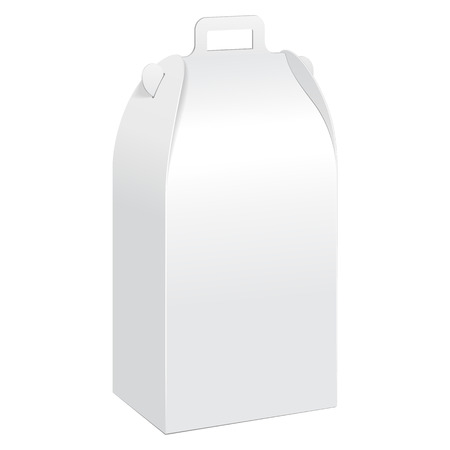 White Tall Cardboard Carry Box Packaging For Food, Gift Or Other Products. On White Background Isolated. Ready For Your Design. Product Packing Vector EPS10