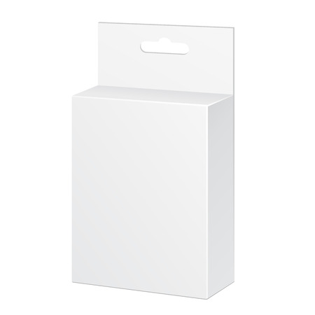 White Product Package Box Illustration Isolated On White Background. Ready For Your Design. Product Packing Vector EPS10 Vectores