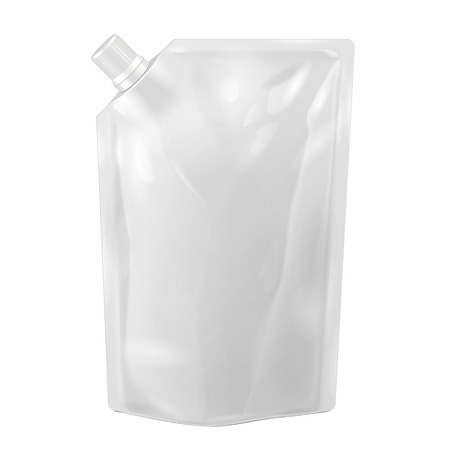 White Blank Doy-pack, Doypack Foil Food Or Drink Bag Packaging With Corner Spout Lid. Plastic Pack Template Ready For Your Design. Vector EPS10 Illustration