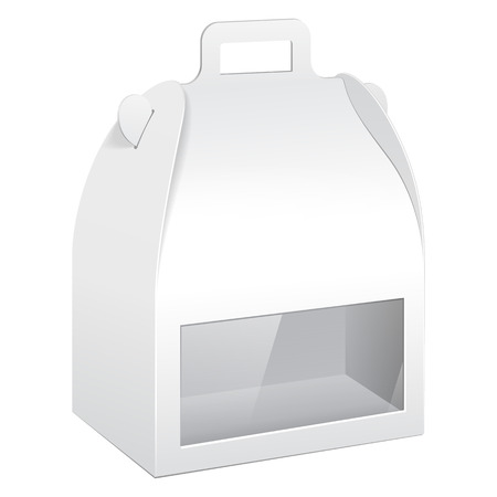 chinese food container: White Cardboard Carry Box Packaging For Food, Gift Or Other Products With Window. On White Background Isolated. Ready For Your Design. Product Packing Vector EPS10