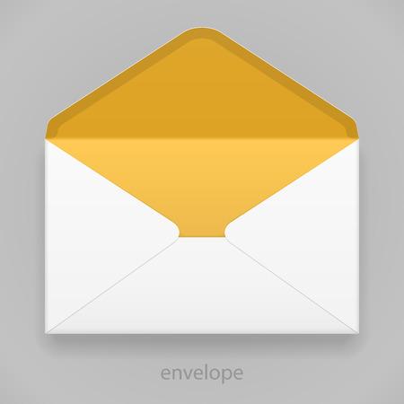 sobres para carta: Blanco Naranja Amarillo Sobres en blanco sobre fondo gris. Listo para su diseño. Embalaje del producto vectorial EPS10