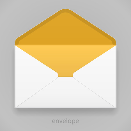 White Yellow Orange Blank Envelope Isolated On Gray Background. Ready For Your Design. Product Packing Vector EPS10
