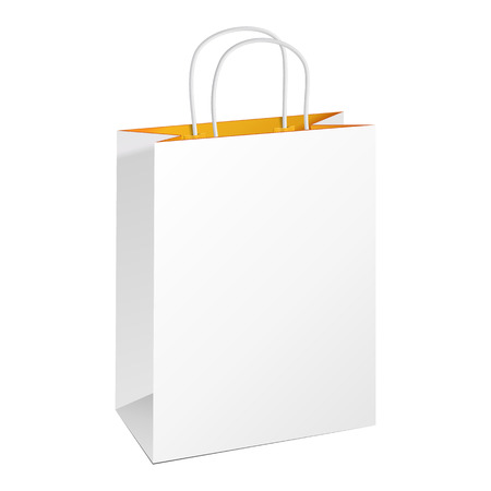 Carrier Paper Bag White Yellow Orange. Illustration Isolated On White Background. Ready For Your Design. Product Packing Vector