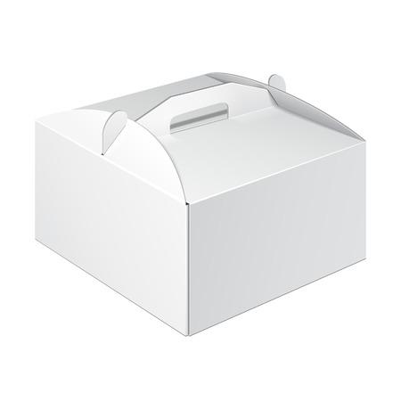Box Carry corta blanca plaza Cartón Cake envases para alimentos, regalo u otros productos. En El Fondo Blanco Aislado. Listo para su diseño. Embalaje del producto vectorial EPS10