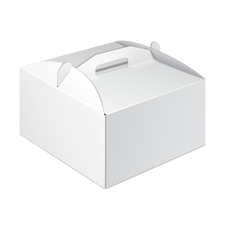 product packaging: White Short Square Cardboard Cake Carry Box Packaging For Food, Gift Or Other Products. On White Background Isolated. Ready For Your Design. Product Packing Vector EPS10