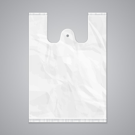 commercial recycling: Disposable Plastic Bag Package Grayscale Template. Ready For Your Design. Product Packing Vector EPS10 Illustration