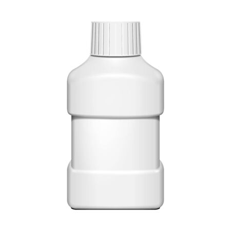 shampoo hair: Short Small Cream, Shampoo, Gel Or Lotion Plastic Bottle On White Background Isolated. Ready For Your Design. Product Packing Vector EPS10 Illustration