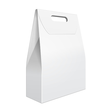 White Cardboard Carry Box Bag Packaging With Handles For Food, Gift Or Other Products. On White Background Isolated. Ready For Your Design. Product Packing Vector EPS10