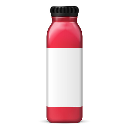 Long Tall Juice Or Jam Glass Red Violet Purple Bottle Jar On White Background Isolated. Ready For Your Design. Product Packing. Vector EPS10