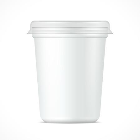 白いプラスチック製の浴槽バケット容器デザート、ヨーグルト、アイス クリーム、サワー クリームまたは軽食のため。あなたのデザインのテンプレ