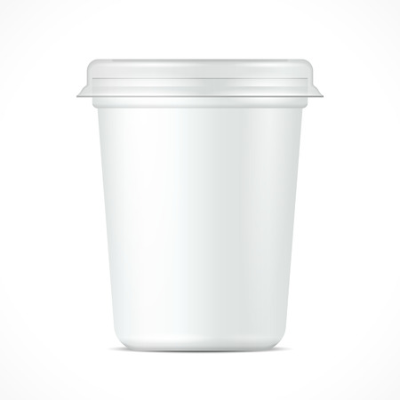 White Food Plastic Tub Bucket Container For Dessert, Yogurt, Ice Cream, Sour Cream Or Snack. Mock Up Template Ready For Your Design. Product Packing Vector EPS10