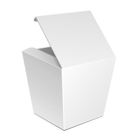 chinese fast food: Blanco Cart�n Fast Food Box, Packaging para el almuerzo, la comida china. En El Fondo Blanco Aislado. Listo para su dise�o. Embalaje del producto vectorial EPS10 Vectores