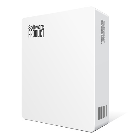 Modern Software Package Box White With DVD Or CD Disk EPS10