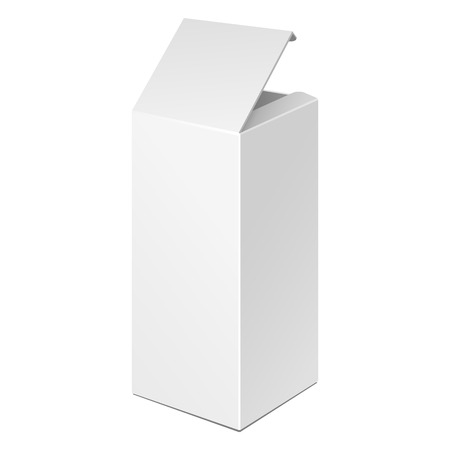 Opened Tall White Product Cardboard Package Box. Illustration Isolated On White Background. Ready For Your Design. Vector EPS10 Vettoriali