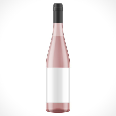 Pink Red Brown Glass Wine Cider Bottle On White Background Isolated. Product Packing. Vector EPS10 Vector
