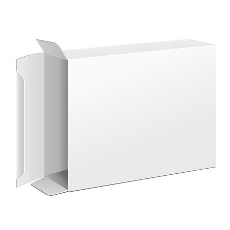 Opened White Product Cardboard Package Box. Illustration Isolated On White Background. Ready For Your Design. Vector EPS10