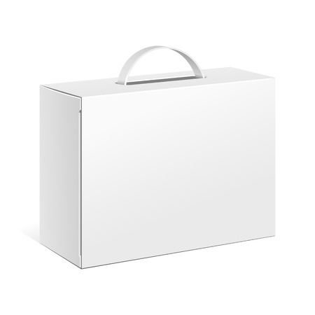 Carton Or Plastic White Blank Package Box With Handle. Briefcase, Case, Folder, Portfolio Case. Illustration Isolated On White Background. Ready For Your Design. Product Packing Vector EPS10 Ilustracja