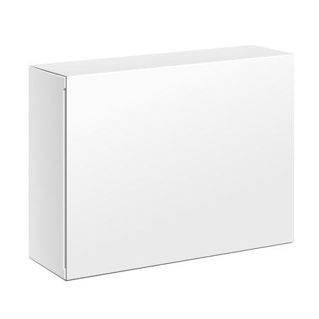 화이트 제품 골판지 포장 상자. 그림 흰색 배경에 고립입니다. 디자인을위한 모의 업 템플릿 준비. 벡터 eps10