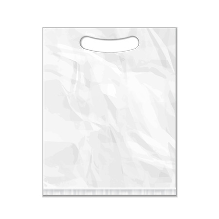 Disposable Plastic Bag Package Grayscale Template. Mock Up Template Ready For Your Design. Product Packing Vector EPS10. Isolated. Vettoriali