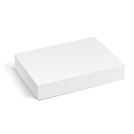 White Product Cardboard Package Box. Illustration Isolated On White Background. Mock Up Template Ready For Your Design. Vector EPS10 Vettoriali