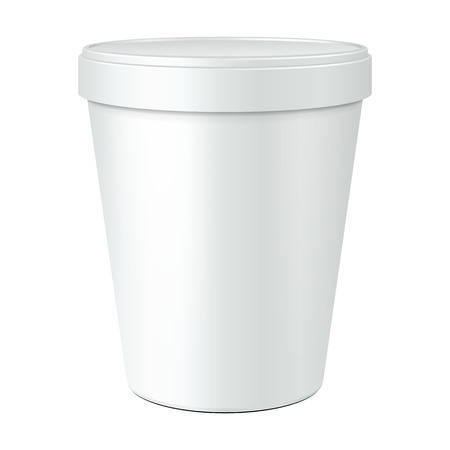 yogurt ice cream: White Mock Up Food Plastic Tub Bucket Container For Dessert, Yogurt, Ice Cream, Sour Cream Or Snack. Ready For Your Design. Product Packing Vector EPS10
