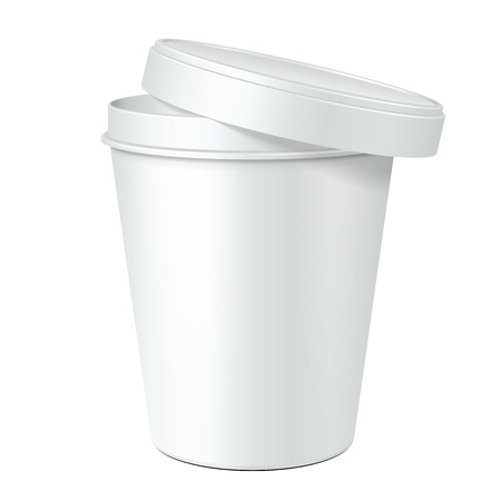 White Opened Mock Up Food Plastic Tub Bucket Container For Dessert, Yogurt, Ice Cream, Sour Cream Or Snack. Ready For Your Design. Product Packing Vector EPS10 Vector